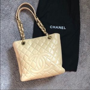 Chanel PT shopper Quilt tote purse tan beige bag